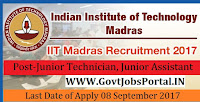 Indian Institutes of Technology Madras Recruitment – 32 Junior Technician, Junior Assistant