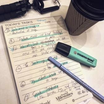MamaMagic notepad with Instagram tips, with coffee and Stabilo pens