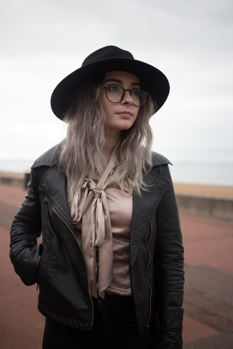An outfit with a cute dusty pink pussy bow blouse hawes and curtis black fedora uk fashion blogger