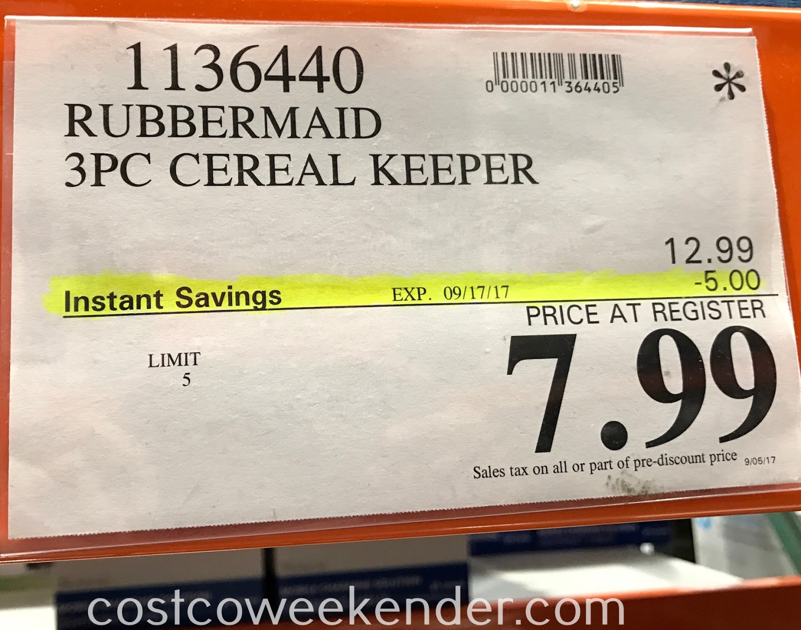 Costco 1136440 - Deal for a 3 pack of Rubbermaid Cereal Keeper at Costco