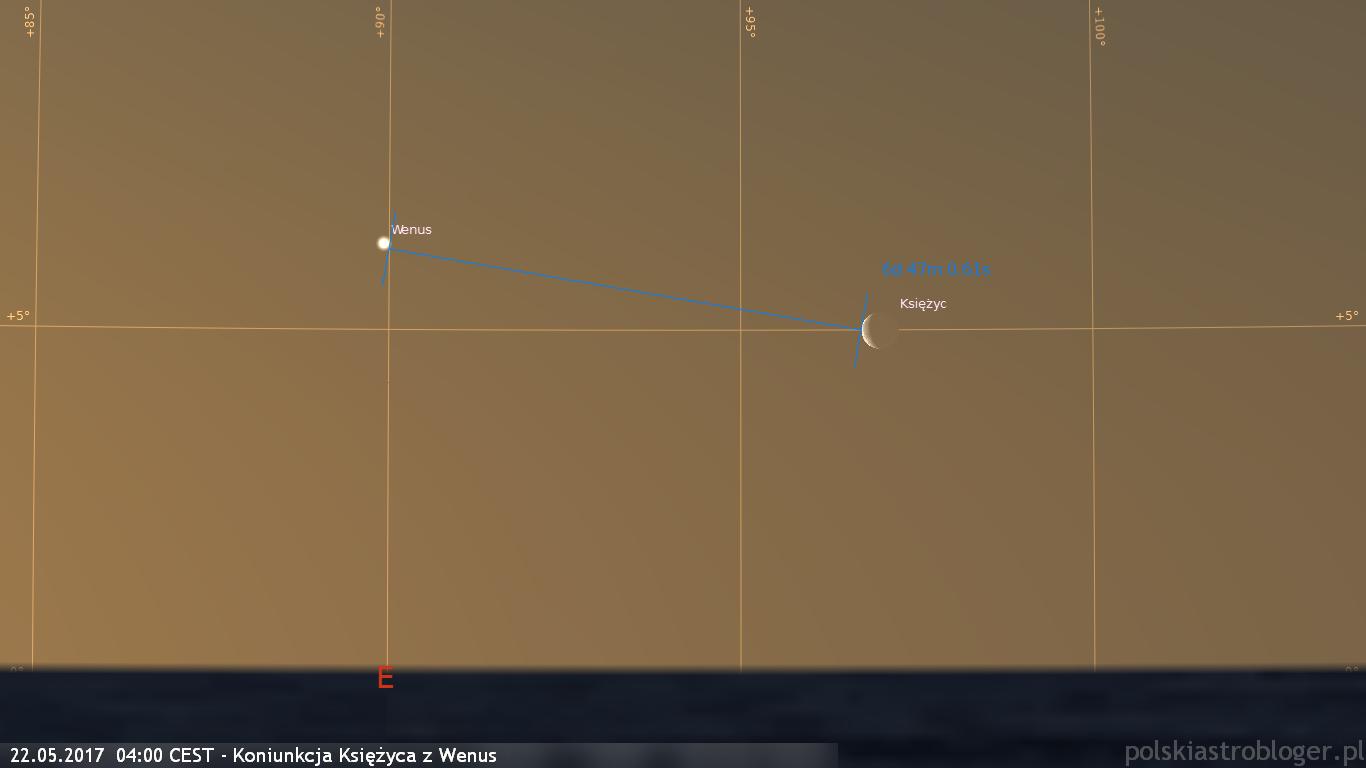 22.05.2017  04:00 CEST - Koniunkcja Księżyca z Wenus