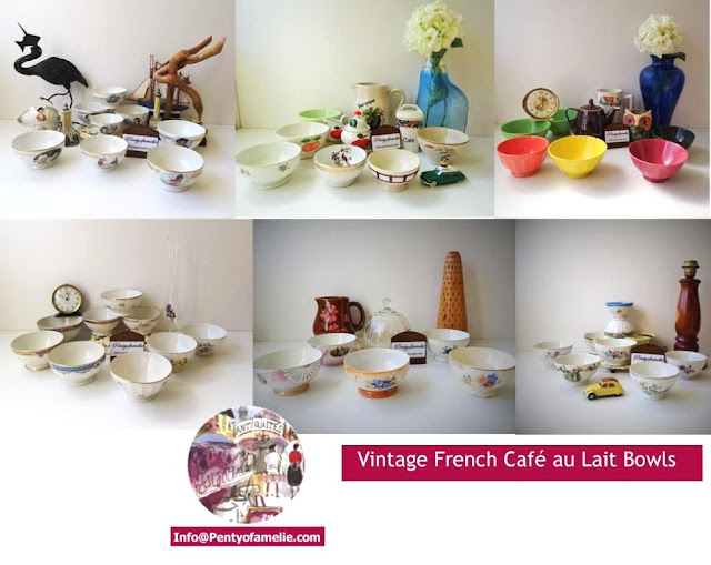 Collectibles, antique, vintage retro coffee bowls, used also as Soup, Cereal bowls, manufactured in France by renown potteries