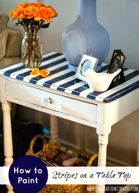 table makeover with blue and white stripes
