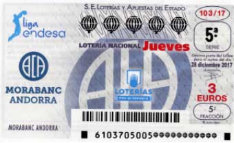 décimos de loteria dedicados este jueves al Morabanc Andorra