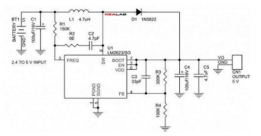 Circuit Schematic 2.4V to 5V Step Up DC-DC Converter using LM2623 IC - Robometricschool