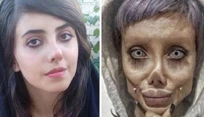 Wanita bernama Sahar Tabar yang mirip Angelina Jolie