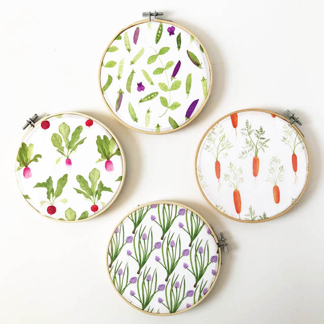 fabric, surface pattern design, Spoonflower, My Garden Sketchbook, garden fabric designs, gardening, watercolor, Anne Butera, My Giant Strawberry