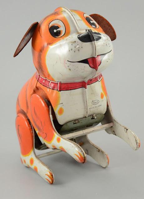 japanese tin toys, german tin toys, wind up tin toys, tin dog toy