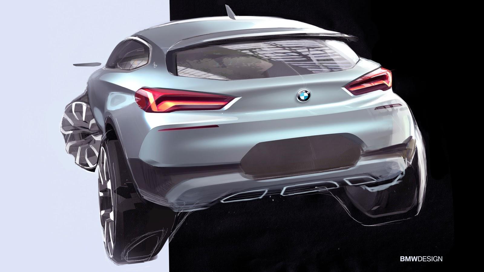 BMW X2 sketch by Sebastian Simm - rear view in silver