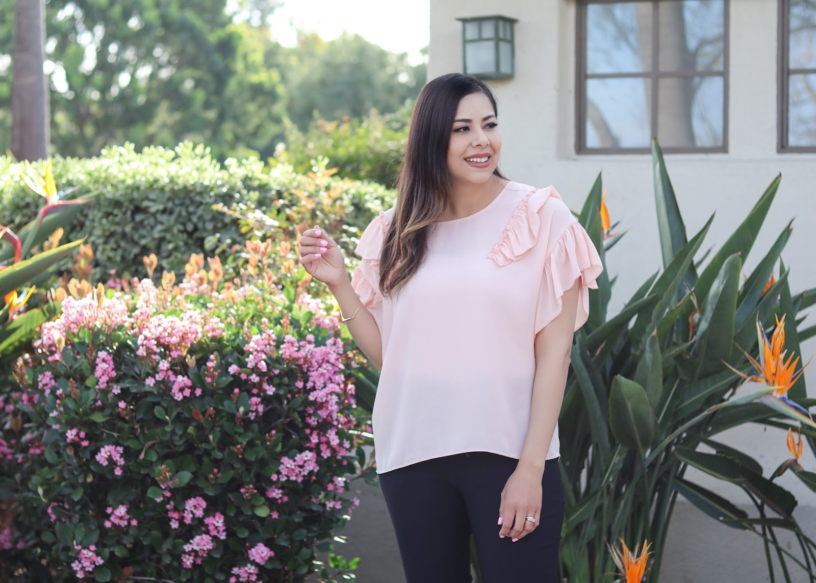pink ruffle top, blush affordable top, libby edelman blush top