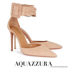 Meghan Markle wore AQUAZZURA Casablanca peach suede pumps