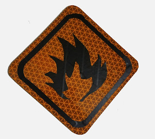 custom safety sign depicting a flame