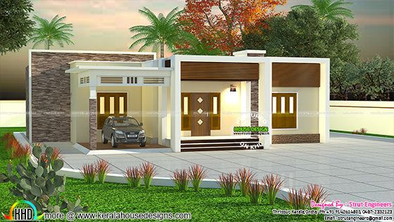 900 sq-ft 2 BHK flat roof house