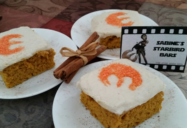 Star Wars Rebels party food - Sabine's Starbird Bars aka Pumpkin Bars with Mascarpone Icing