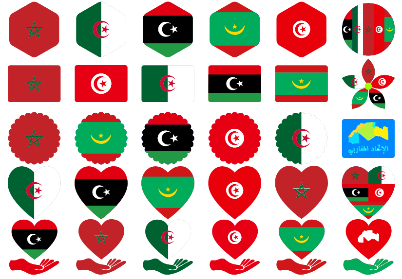 تحميل خط الاتحاد المغاربي الجديد بتقنية الألوان خط دول المغرب العربي الجزائر تونس المغرب ليبيا موريتانيا في خط واحد 80 شعار مغاربي الخط بصيغة ttf otf woff2 woff الخط متوافق مع جميع أنظمة التشغيل ويدوز اندرويد وغيرهم