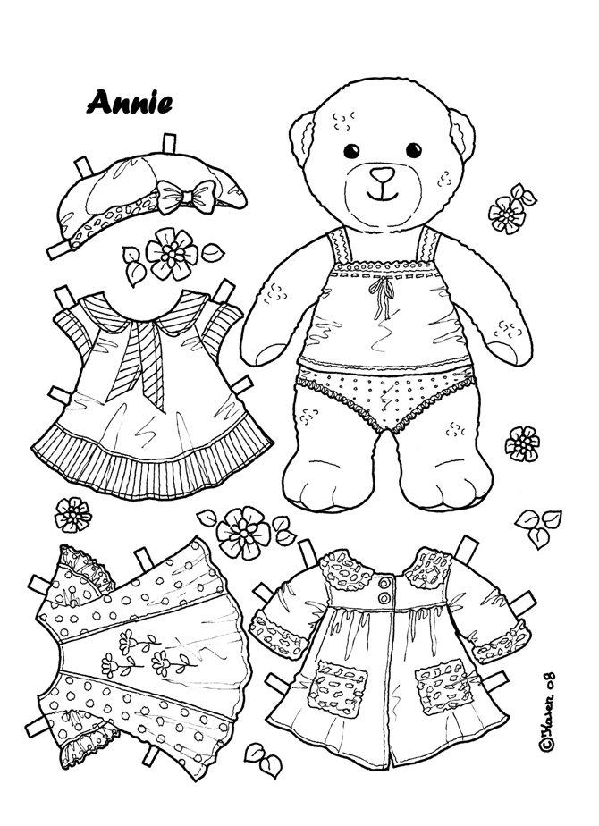 Karen`s Paper Dolls: Annie 1-2 Paper Doll to colour. Annie