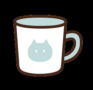 ねこ模様のマグカップのイラスト(水色)