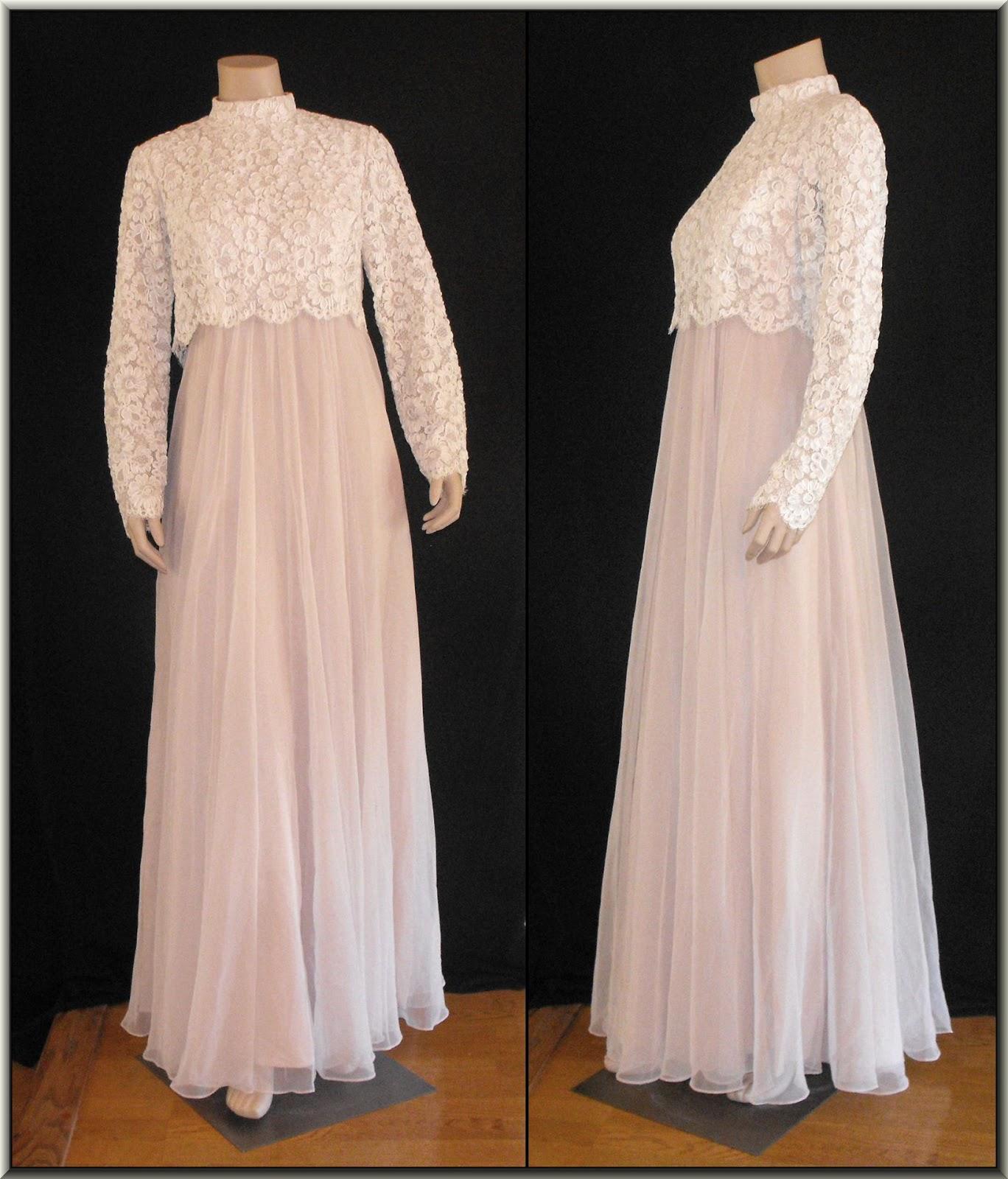 fb4633212a Vintage 1960s Soutache Lace & Chiffon Evening Gown by Miles & Miles