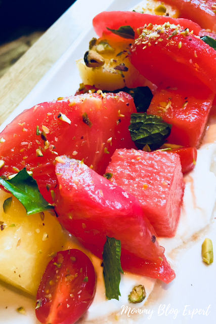 Vegan Heirloom Tomato Watermelon Salad with Coconut Yogurt