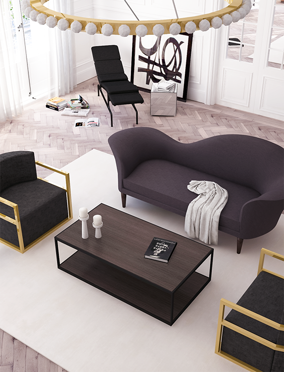 Parisian apartment living room design concept by Eleni Psyllaki of My Paradissi in collaboration with Houseology