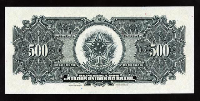 Brazil paper money currency 500 Mil Reis Cruzado Cruzeiro Real Reais