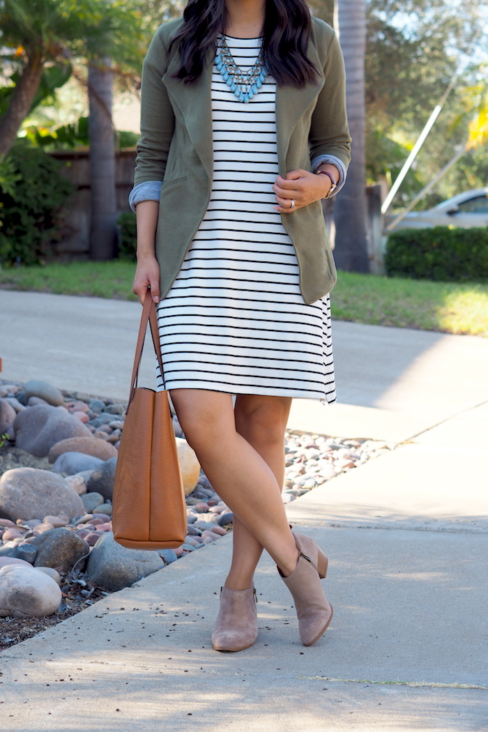 ankle boots + striped dress outfit