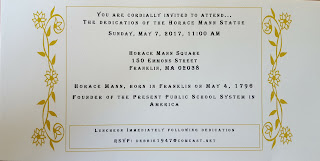 Upi are invited to the Horace Mann Statue Unveiling at Horace Mann Square - May 7