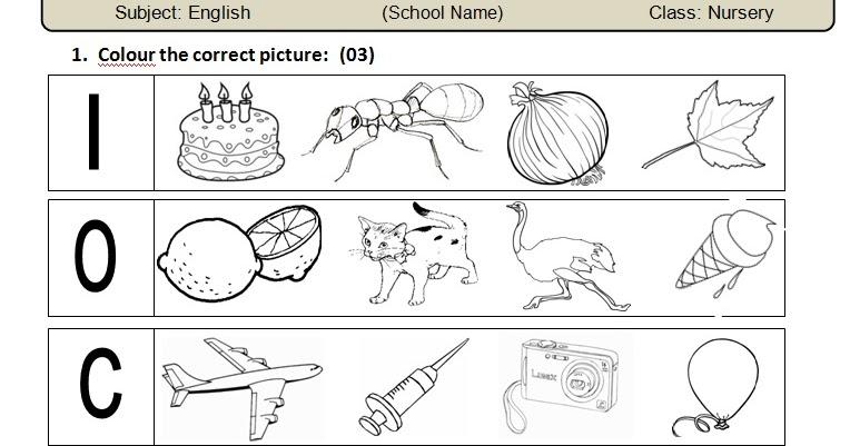 Free Worksheets » Nursery English Worksheets - Free Math ...
