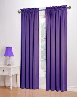 Purple bedroom ideas: Sun zero curtains