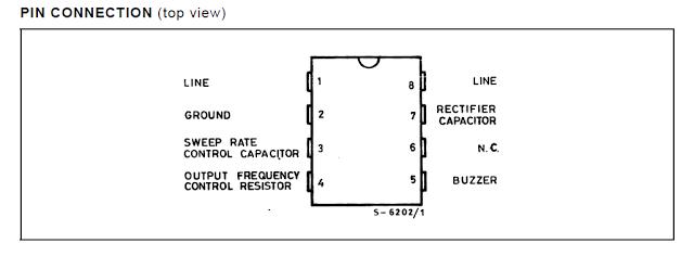 Pinout S[ecs of the IC LS1240 dual tone generator IC