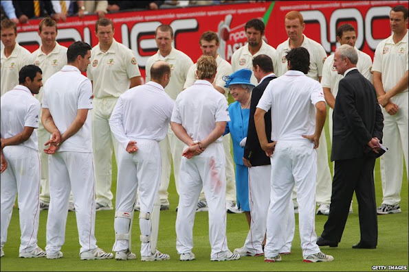 Queen Elizabeth  attended  the Test Match between England and Australia at Lord's Cricket Ground