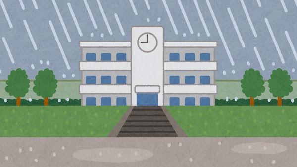 雨が降る学校の建物のイラスト(背景素材)