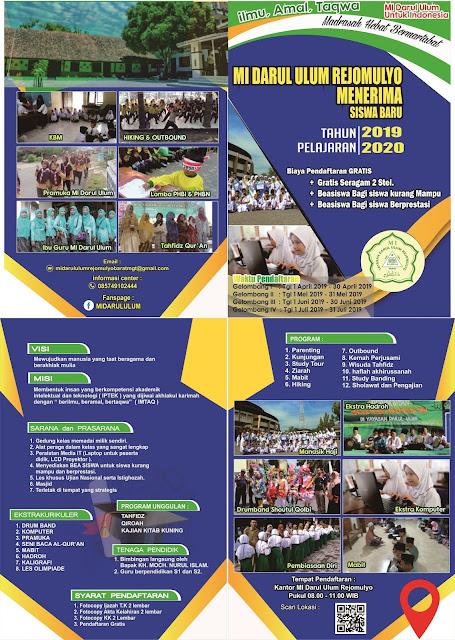 Penerimaan Peserta Didik Baru MI Darul Ulum Rejomulyo Tahun 2019-2020