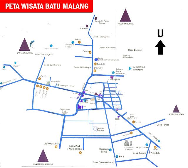 Gambar Peta Wisata Kota Batu Malang, Jawa Timur
