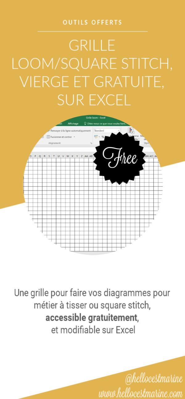 grille gratuite sur excel pour tissage lloom, square stitch, metier a tisser, en perles miyuki delicas 11/0 pinterest