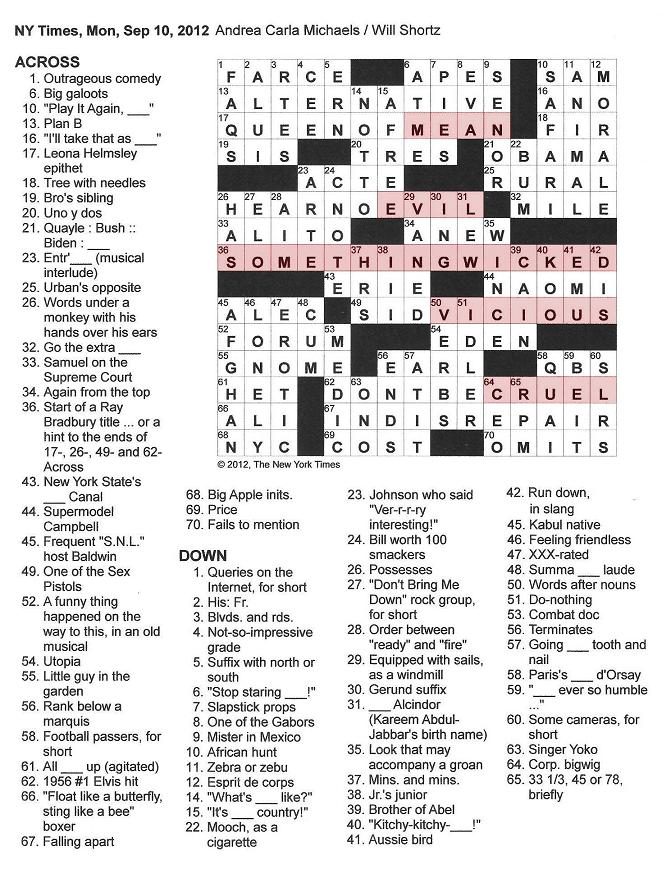 The New York Times Crossword in Gothic: 09.10.12 — This ...