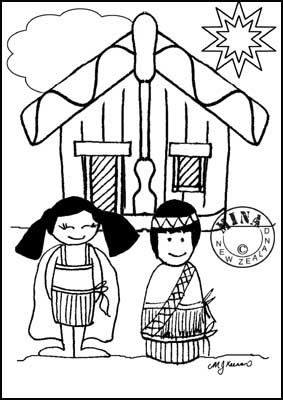 www coloring pages for kids | Maori Printables: Kids and Marae Colouring Page