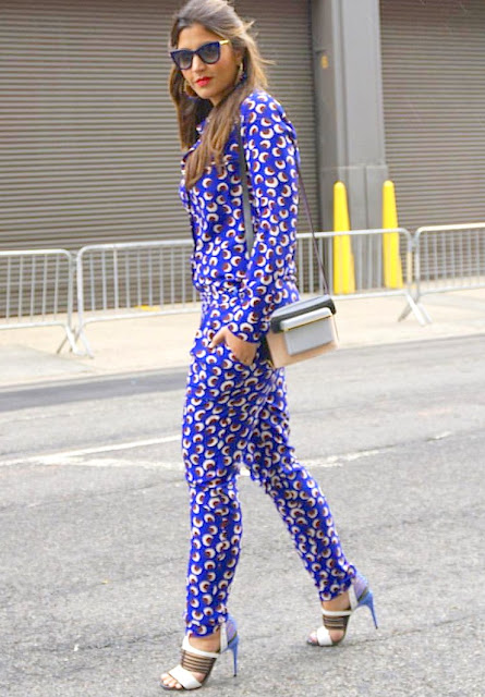 Lia pellerano nyfw15 floral jumpsuit outfit