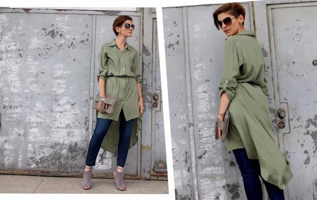 Novamoda streetstyle, szmizjerka, koszula oversize, koszula, khaki, osobista stylistka poznan, stylistka, blog po 30-tce, codzienny styl,