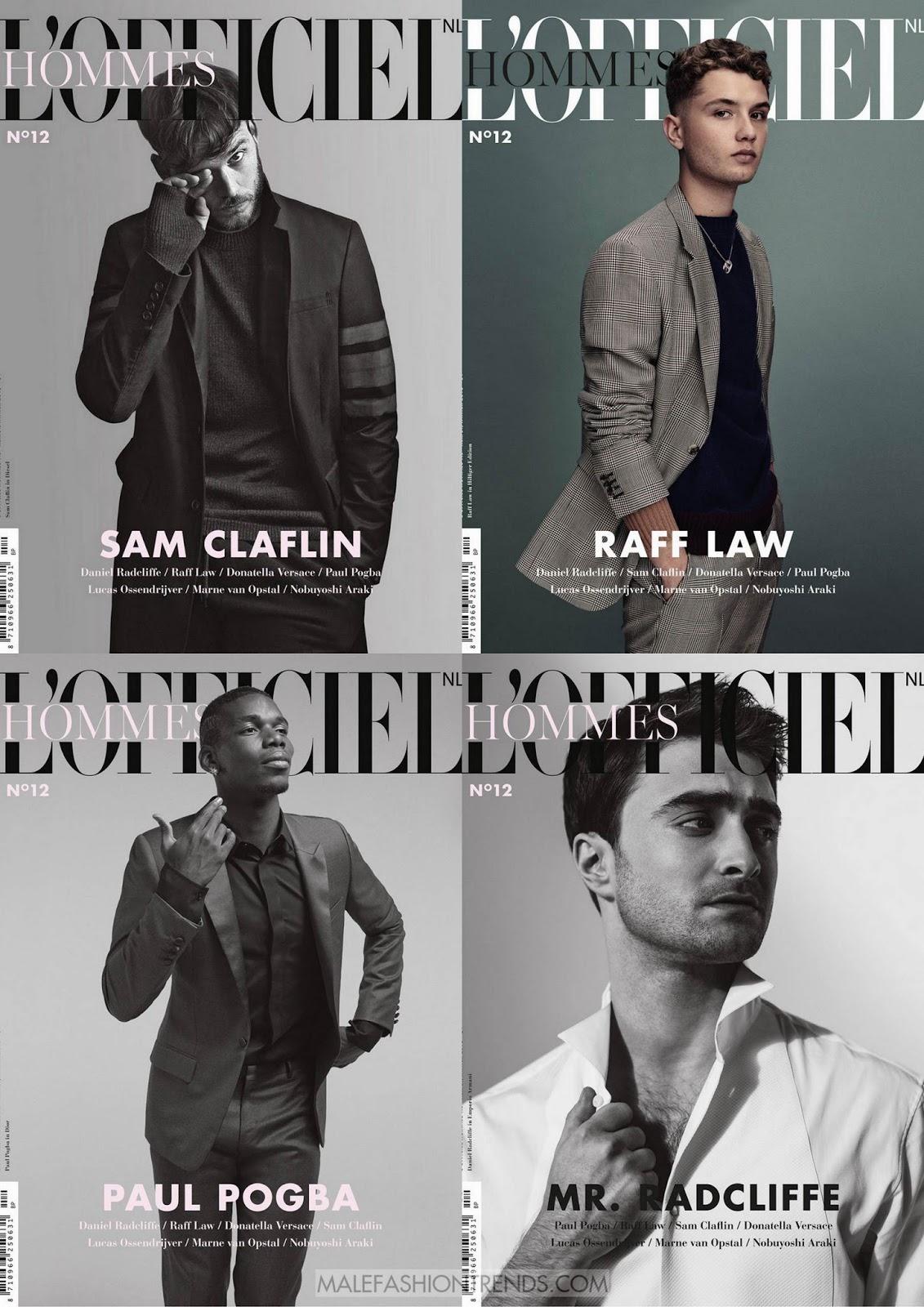 Paul Pogba, Daniel Radcliffe, Raff Law y Sam Claflin para L'Officiel Hommes Nederlands