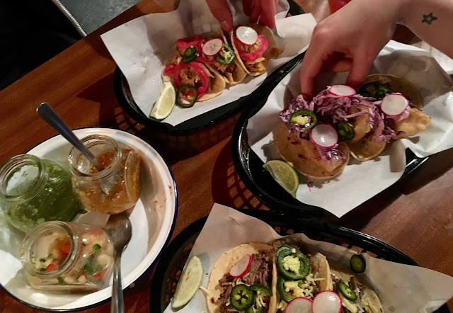 Tucking into all the tacos at the plumed serpent cantina in bristol