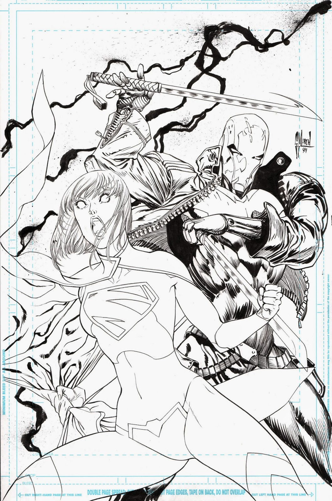 SUPERGIRL #35 cover process by Guillem March