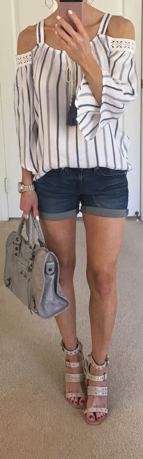 9c4f2534e8 Top: Charming Charlie | Shorts: Target (Similar) | Shoes: Dolce Vita c/o  Amazon | Earrings: Kendra Scott | Bag: c/o Amazon | Watch: Fossil | Ring:  Stella ...
