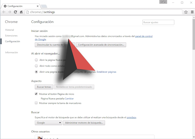 Log in your Chrome Browser settings
