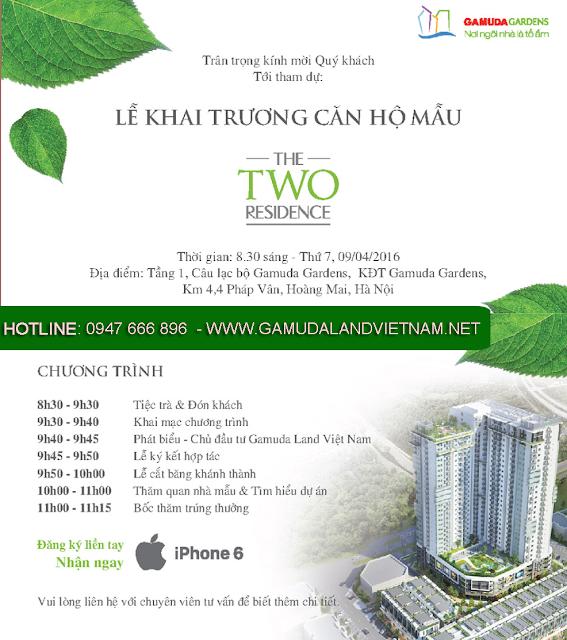 khai truong nhà mẫu Chung cư The Two Residence - gamuda gardens