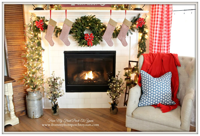 Farmhouse Christmas Mantel-Christmas Tree-Christmas Wreath- From My Front Porch To Yours