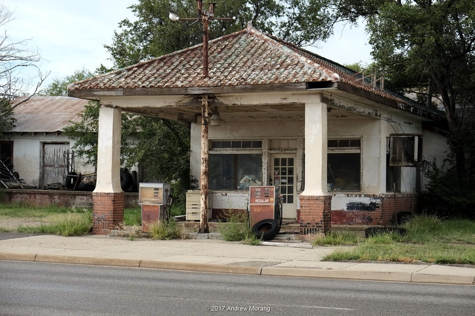 Urban Decay: Metal-Shingled Gasoline Station, Claude, Texas