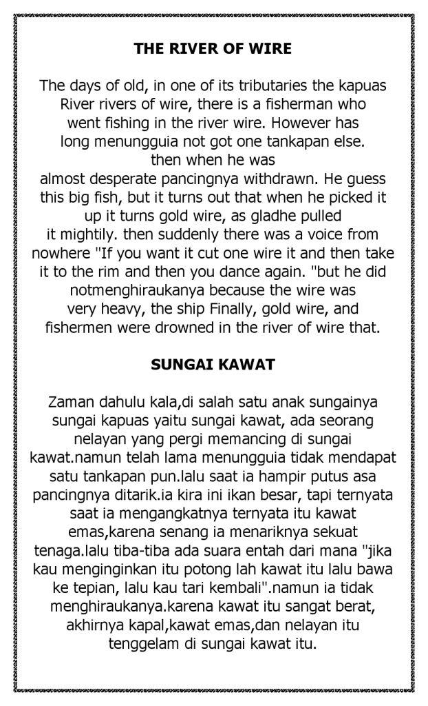 Cerita Legenda Sungai Kawat Bahasa Inggris