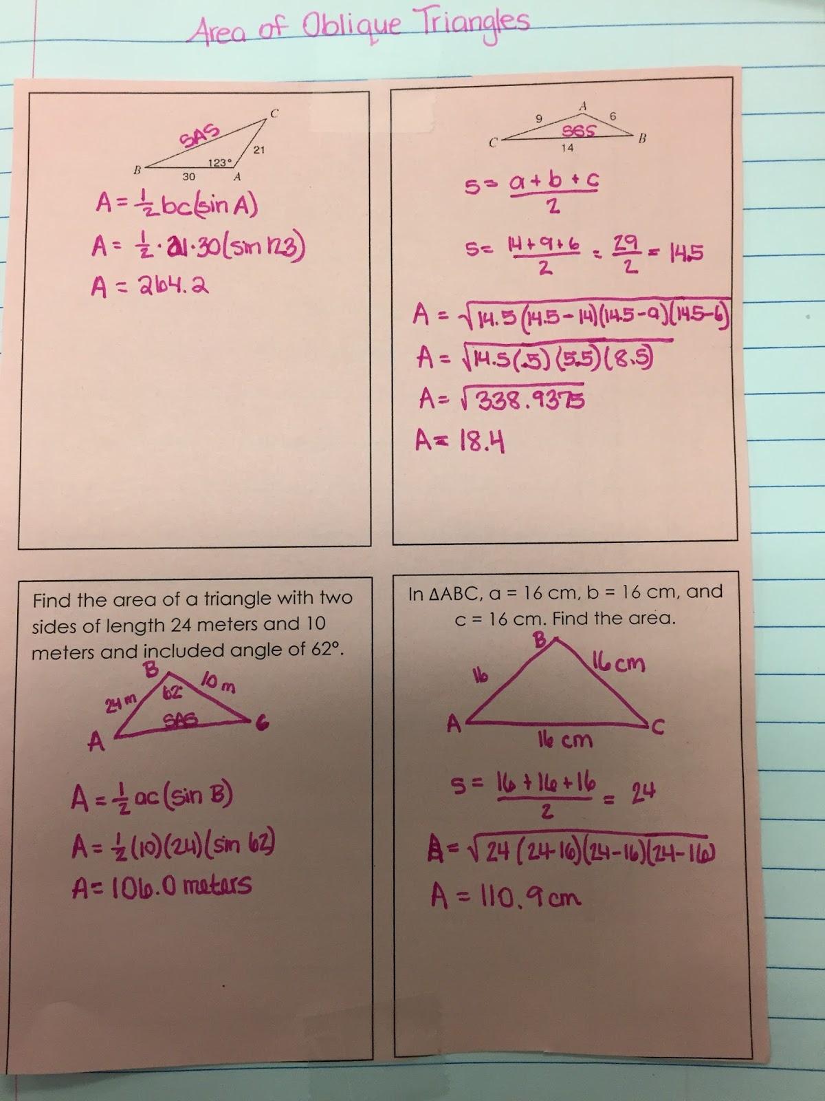 Misscalcul8 Area Of Oblique Triangles