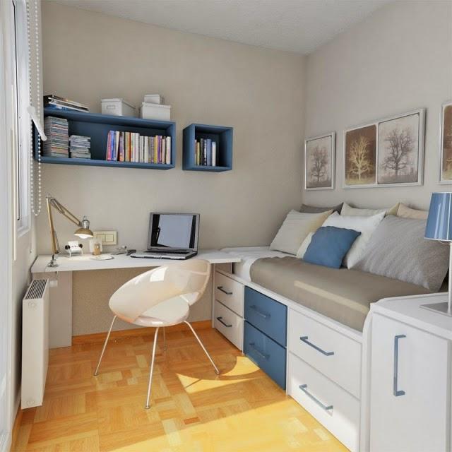 Dormitorios de adolescentes en azul y gris dormitorios for Dormitorio adolescente